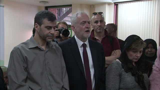 shows interior shots uk labour party leader jeremy corbyn speaking on the terror attack racism and community at a meeting at finsbury park mosque and... - diane abbott stock videos & royalty-free footage