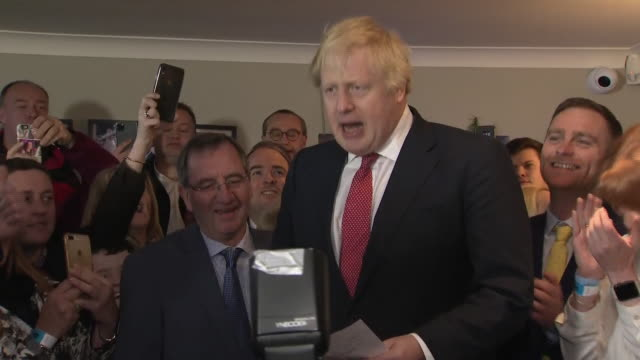 shows interior shots uk prime minister boris johnson arriving and giving speech to supporters in sedgefield including quotes get brexit done and oven... - prime minister of the united kingdom stock videos & royalty-free footage