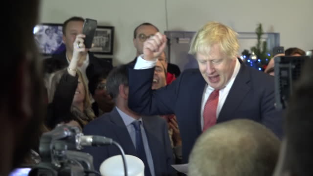 shows interior shots uk prime minister boris johnson arriving and giving speech to supporters in sedgefield and listing all the seats they won from... - prime minister of the united kingdom stock videos & royalty-free footage