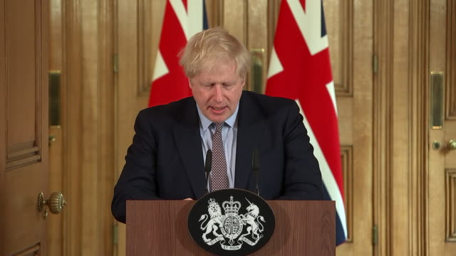 shows interior shots uk prime minister boris johnson giving press conference in downing street to announce government's plans for coronavirus... - blurred motion stock videos & royalty-free footage