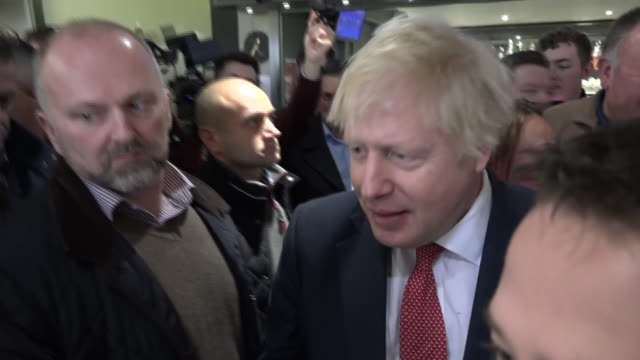 shows interior shots uk prime minister boris johnson meeting supporter's puppy after giving speech to supporters in sedgefield boris johnson has... - prime minister of the united kingdom stock videos & royalty-free footage