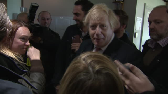 shows interior shots uk prime minister boris johnson posing for photos and selfies with fans after giving speech to supporters in sedgefield boris... - prime minister of the united kingdom stock videos & royalty-free footage