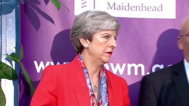 Shows interior shots UK Prime Minister Theresa May arriving at her constituency Election vote count listening to declaration announcement and speech...