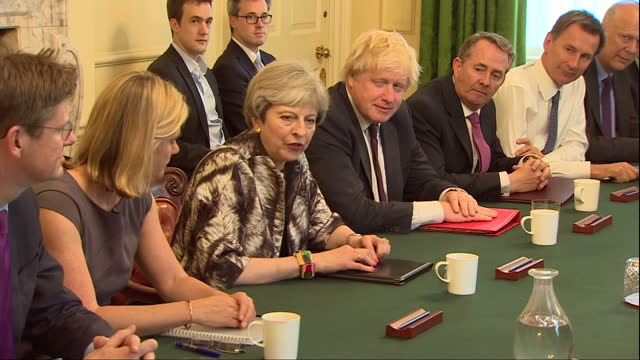 Shows interior shots UK Prime Minister Theresa May chairing a meeting of her Cabinet Ministers in Downing Street Theresa May's new Cabinet is meeting...