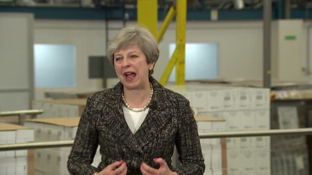 Shows interior shots UK Prime Minister Theresa May giving campaign speech in her constituency SOUNDBITE speaking on UK 2017 general election need for...