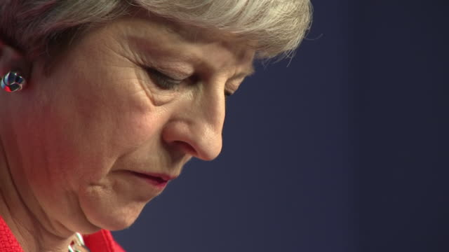 shows interior shots uk prime minister theresa may giving press conference at g20 summit speaking on brexit quote there's a lot more for me still to... - theresa may stock videos & royalty-free footage