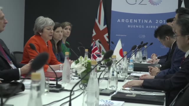 shows interior shots uk prime minister theresa may making comments during meeting with japanese prime minister shinzo abe at g20 summit theresa may... - group of 20 stock videos & royalty-free footage