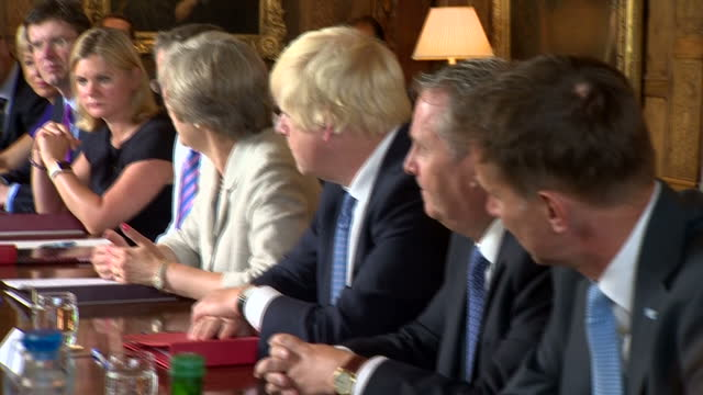 shows interior shots uk prime minister theresa may meeting with cabinet ministers at chequers the prime minister's country residence to discuss plans... - european union stock videos & royalty-free footage