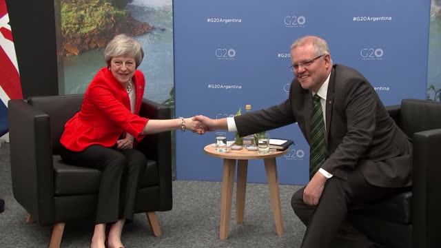 Shows interior shots UK Prime Minister Theresa May meeting with Australian Prime Minister Scott Morrison at G20 Summit Theresa May is currently in...