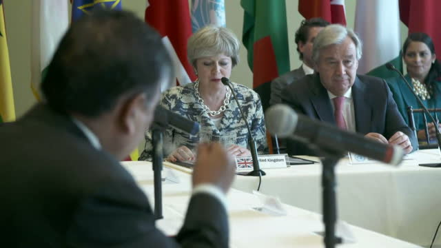 Shows interior shots UK Prime Minister Theresa May speaking during bilateral meeting at UNGA also attended by Antonio Guterres Ivanka Trump and Adel...
