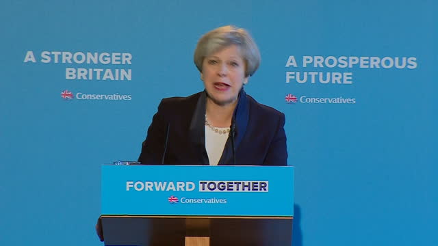 Shows interior shots UK Prime Minister Theresa May speech soundbite on Tory plans for funding social care at Conservative Party Manifesto Launch...