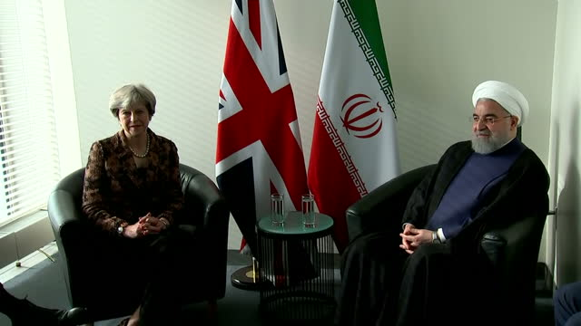 shows interior shots uk prime minsiter theresa may in bilateral meeting with iranian president hassan rouhani at un general assembly. the uk prime... - shift key stock videos & royalty-free footage