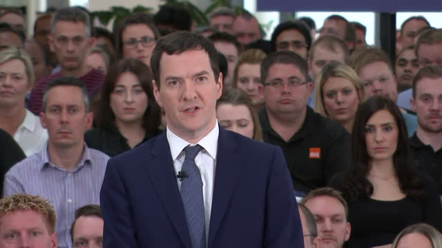 """shows interior shots uk's chancellor george osborne speech soundbite on eu referendum quote """"the uncertainty that would be cause by a vote to leave... - george osborne stock videos & royalty-free footage"""
