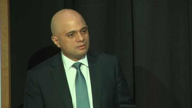 shows interior shots uk's home secretary sajid javid mp giving speech announcing new regulations for social media providers in relation to harmful... - big tech stock videos & royalty-free footage
