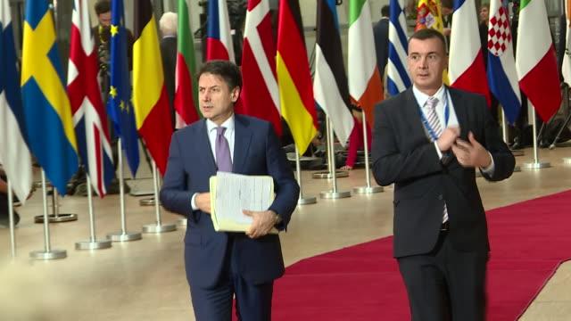 shows interior shots various european politicians arriving for eu summit at eu parliament including irish prime minister leo varadkar, prime minister... - europäische union stock-videos und b-roll-filmmaterial
