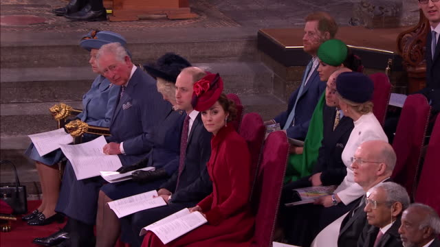 shows interior shots various members of the royal family sitting during the ceremony, including queen elizabeth ii, prince charles, camilla duchess... - earl of wessex stock videos & royalty-free footage