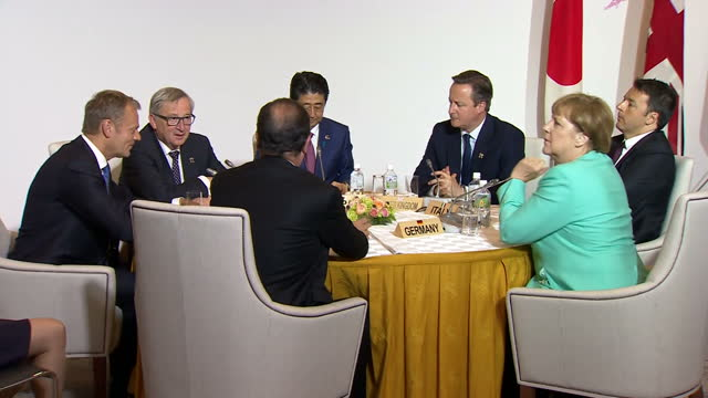 shows interior shots world leaders at g7 summit with italian prime minister matteo renzi uk's prime minister david cameron german chancellor angela... - europäische kommission stock-videos und b-roll-filmmaterial