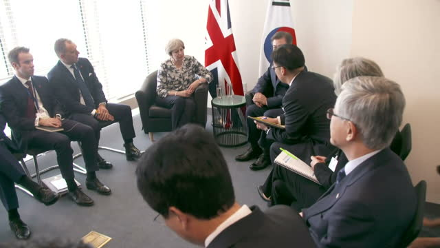 shows interior shtos uk prime minsiter theresa may meeting with south korean president moon jae-in in bilateral meeting at un general assembly... - shift key stock videos & royalty-free footage
