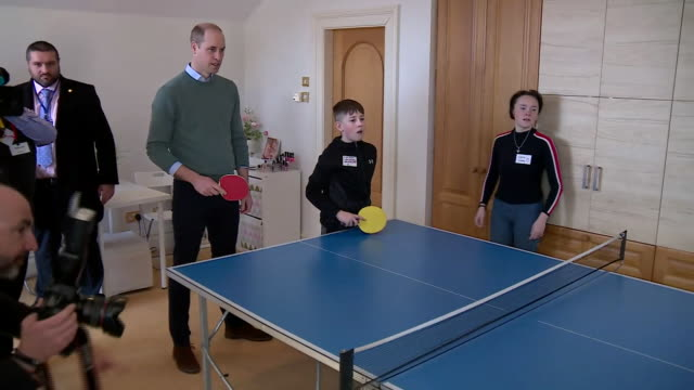 shows intterior shots prince william, duke of cambridge, and catherine , duchess of cambridge joining in a game of table tennis with young people at... - dublin republic of ireland stock videos & royalty-free footage