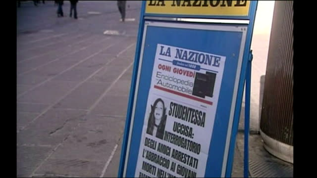 shows italian newspaper headlines featuring murdered british student meredith kercher, in perugia, on 8th november, 2007. - perugia stock videos & royalty-free footage