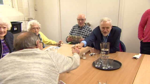 Shows Labour Leader Jeremy Corbyn chatting to elderly people at a community centre in Shipley West Yorkshire on 12th October 2017
