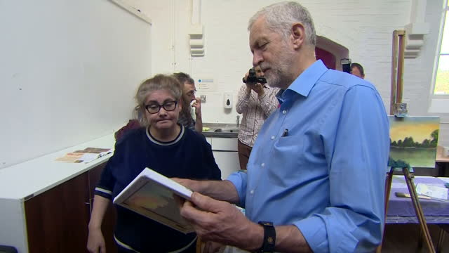 Shows Labour Leader Jeremy Corbyn chatting with people at community centre in Shipley West Yorkshire on 12th October 2017