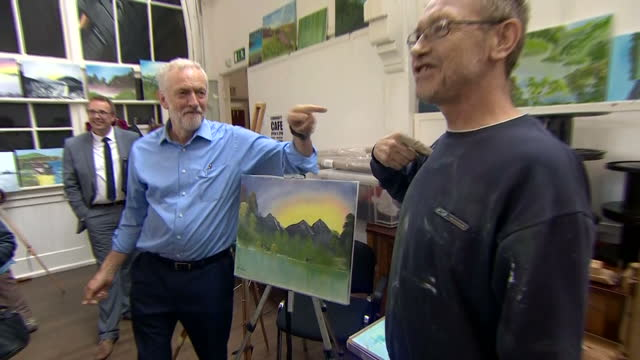 Shows Labour Leader Jeremy Corbyn doing a spot of painting while on a visit to community centre in Shipley West Yorkshire on 12th October 2017
