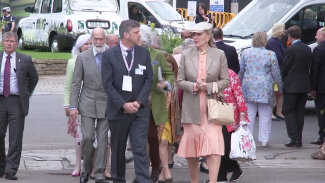 shows princess michael of kent and her husband prince michael of kent as well as prince richard, duke of gloucester and birgitte, duchess of... - festival dei fiori di chelsea video stock e b–roll