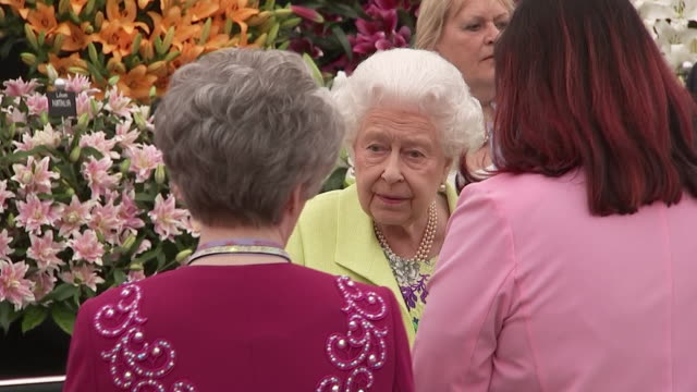 shows queen elizabeth ii at the rhs chelsea flower show 2019, in london on monday 20th may, 2019. - festival dei fiori di chelsea video stock e b–roll
