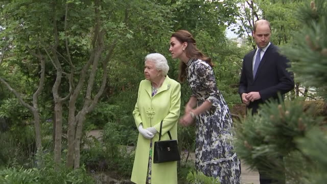 shows queen elizabeth ii walking through catherine, duchess of cambridge's 'back to nature' garden alongside prince william, duke of cambridge, at... - festival dei fiori di chelsea video stock e b–roll