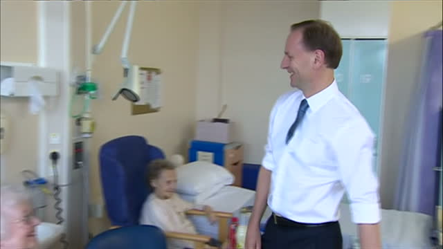 shows simon stevens nhs boss on ward talking to patients on april 01 2014 in durham england - nhs stock videos & royalty-free footage