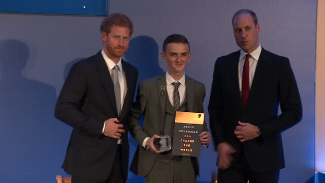 Shows the Duke of Cambridge and Prince Harry presenting award to Jonjo Heuerman fundraiser for the Bobby Moore Fund at The Diana Award 2017 ceremony...