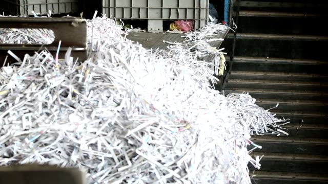 shredded paper prepared for recycling process - printout stock videos & royalty-free footage