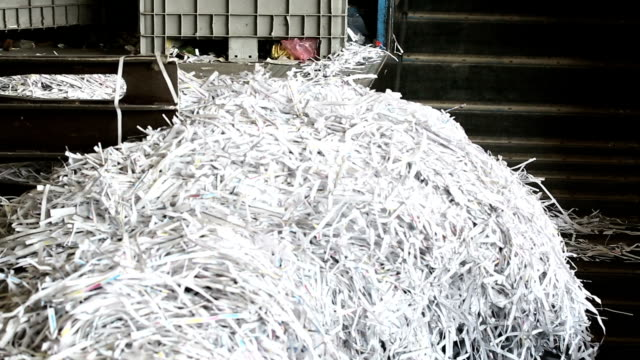 Shredded Paper Prepared For Recycling Process