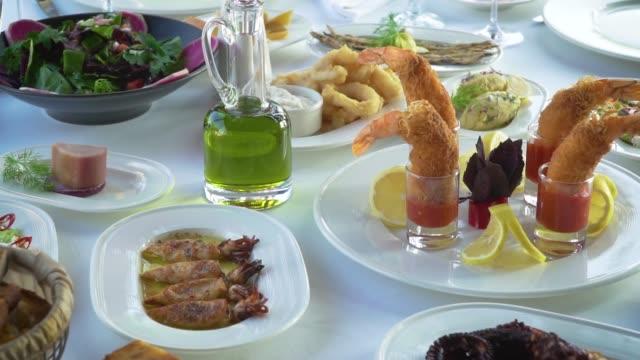 shrimp cocktail on dinner - appetiser stock videos & royalty-free footage