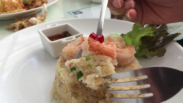 vídeos de stock e filmes b-roll de shrimp fried rice - parte do corpo animal