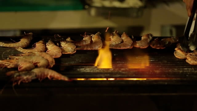 shrimp on grill - briquette stock videos & royalty-free footage