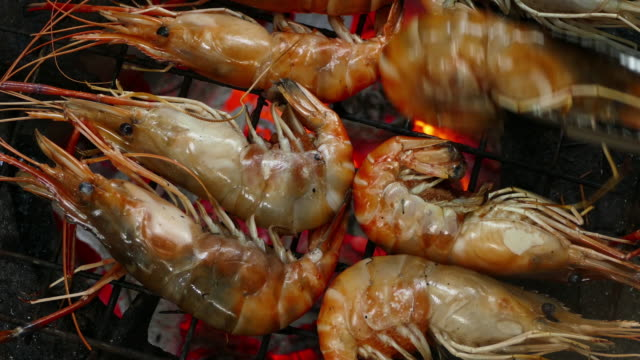 shrimp on the grill - prawn seafood stock videos & royalty-free footage