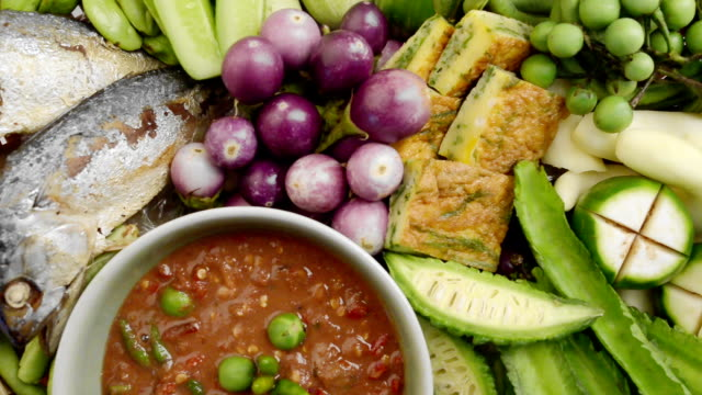 shrimp paste chilli sauce set with vegetables and mackerel fish,thai foods. - seafood stock videos & royalty-free footage