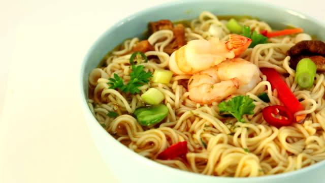 shrimp soup - noodles stock videos & royalty-free footage
