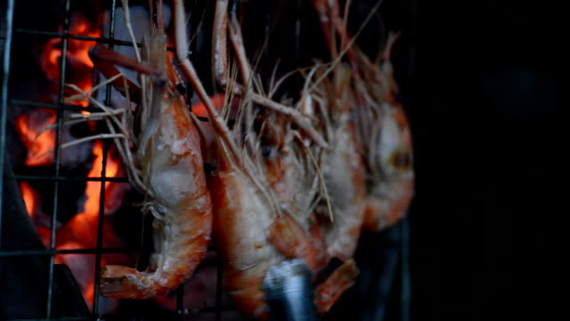 shrimps grill - scampi seafood stock videos and b-roll footage