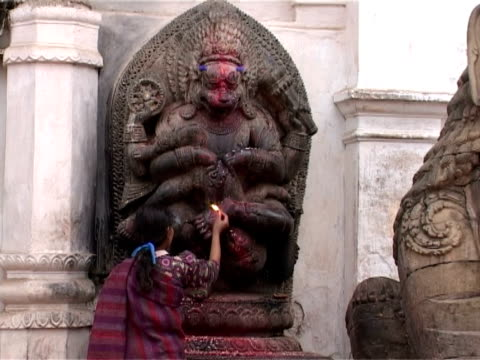 shrine of narasimha, incarnation of vishnu, kathmandu, nepal - traditional ceremony stock videos & royalty-free footage