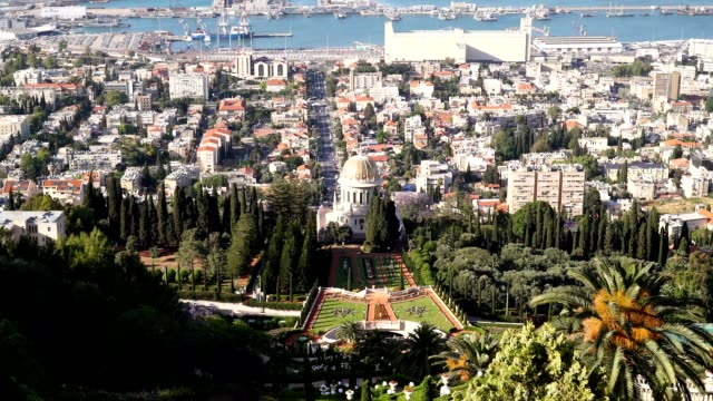 shrine of the báb and view of gardens - haifa video stock e b–roll