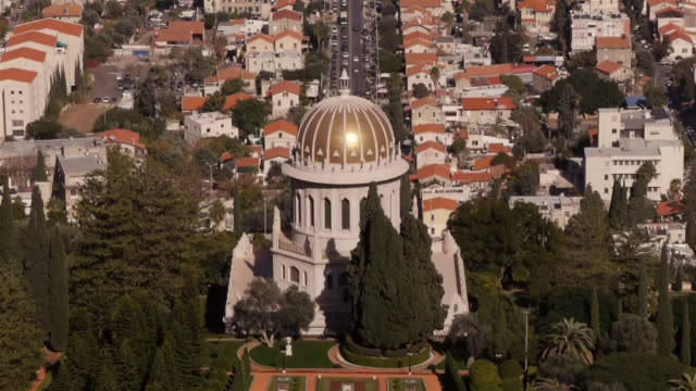 shrine of the báb in haifa seen from above - haifa video stock e b–roll