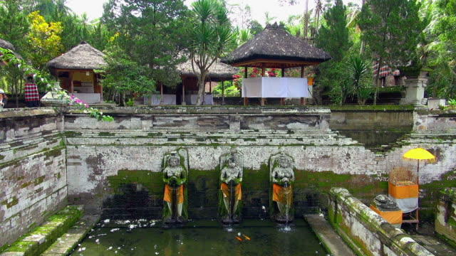 Shrines Above The Water Tank At Goa Gajah Temple