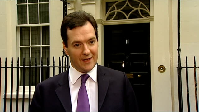 GDP shrinks edging UK closer to 'official' recession London Downing Street EXT George Osborne MP interview SOT Britain has substantially economic...