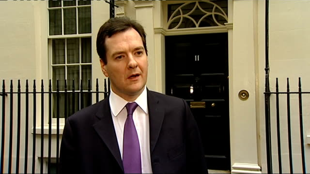 George Osborne interview ENGLAND London Downing Street EXT Door of Number 11 / George Osborne MP out of No 11 and towards to speak to press SOT They...