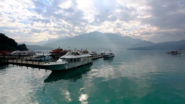 shueishe pier, sun moon lake, taiwan - wen wu temple stock videos and b-roll footage