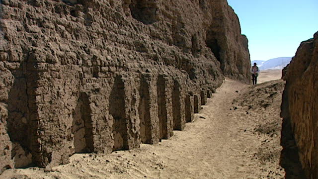 shunet el zebib. view of egyptologist david rohl walking past the mudbrick niche-facade architecture of the funerary enclosure built for 2nd dynasty... - enclosure stock videos & royalty-free footage