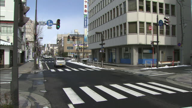 shuttered shopping street / yamagata - verkehrs leuchtsignal stock-videos und b-roll-filmmaterial